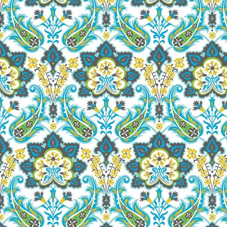 http://www.plushaddict.co.uk/blend-turkish-delight-blue.html Blend - Turkish Delight Blue - cotton fabric
