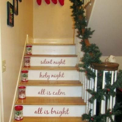 117 best seasonal staircases images on pinterest for How to decorate your stairs for christmas