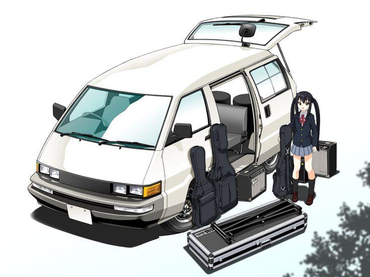 #AzusaYukimasa, #Blazer, #Car, #GuitarCase, #Highres, #InstrumentCase, #Kon, #MotorVehicle, #NakanoAzusa, #SchoolUniform, #Toyota, #ToyotaMasterAce, #Twintails, #Van, #Vehicle