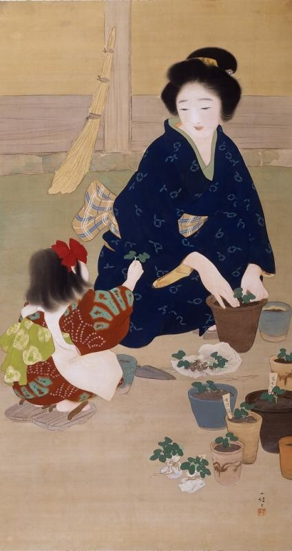 Mother and Child Japanese painting