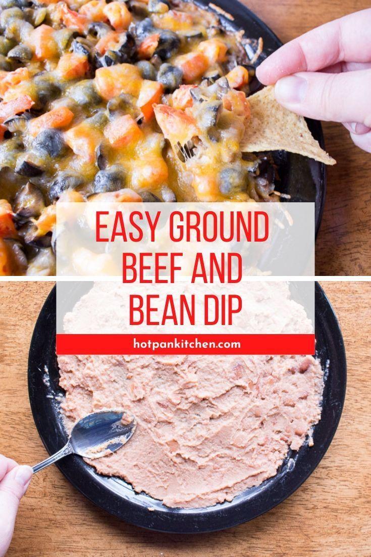 Easy Ground Beef And Bean Dip In 2020 Bean Dip Layered Bean Dip Recipe Gluten Free Comfort Food
