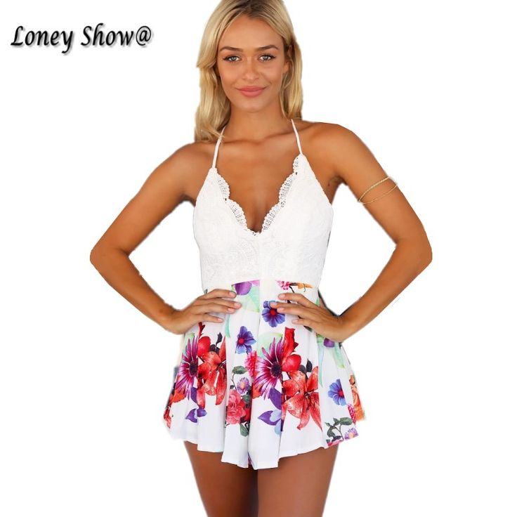 Loneyshow Boho floral white lace elegant jumpsuit romper Sexy backless strap summer beach playsuit Women chiffon short overalls