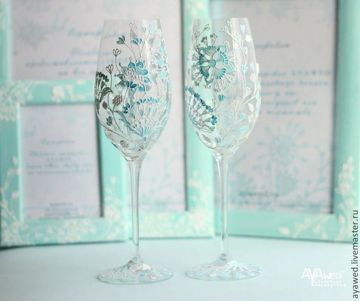 """Купить Свадебные бокалы """"Тиффани"""" - мятный, бокалы для свадьбы, бокалы для молодоженов, бокалы для шампанского"""