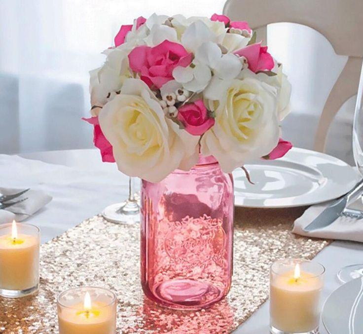 Celebrate this Wedding season with these rose tinted Mason jars, these Mason jars can be used to hold Centerpieces, utensils at an outdoor BBQ or as home decor the options are endless! on sale now! In