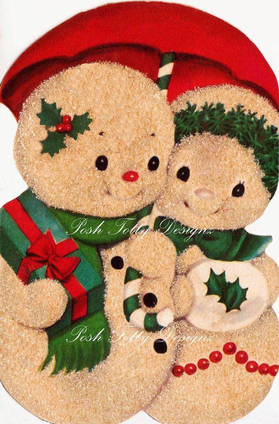 Christmas Snowman In Love 1940s vintage by poshtottydesignz