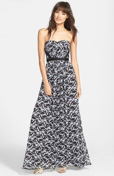 Hailey by Adrianna Papell – Print Strapless Chiffon Gown | buy it: http://rstyle.me/n/m5itisque