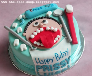 The Cake Shop: Dentist theme cake and cupcakes