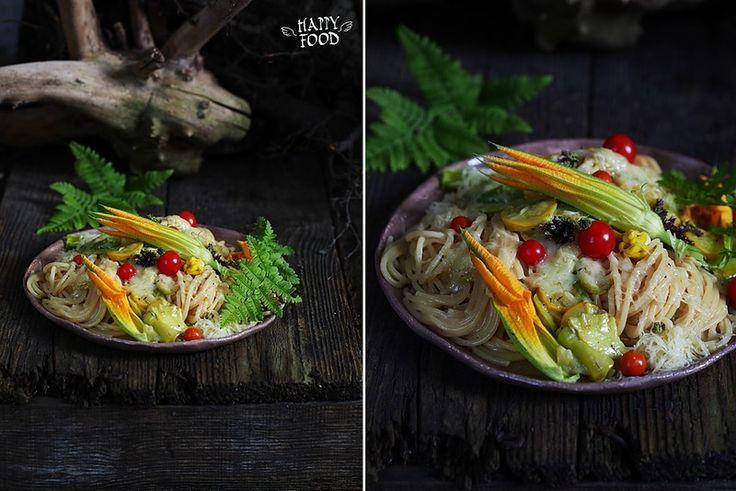 Спагетти со сливочным соусом,цуккини и козьим сыром - HAPPYFOOD