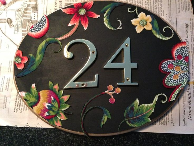 DIY house number plaque, oval house number