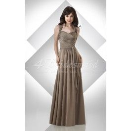 A-line Halter Chiffon Floor-length Brown Bridesmaid Dresses(BD215.139)_Change to Pearl Pink