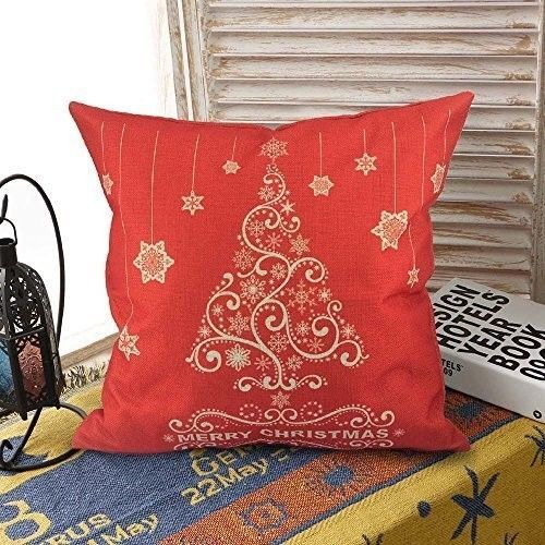 """Christmas Cushion Cover 18"""" Lovely Cotton Linen Tree Design Xmas Case Red #easy_shopping08"""