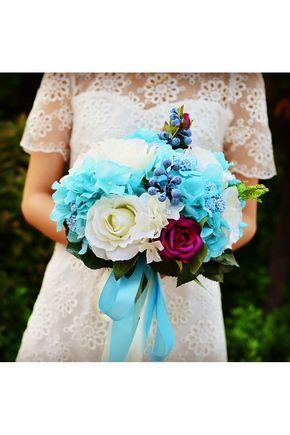 Bouquets de Noiva Mão-amarrado Colorido Bouquets de casamento Seda