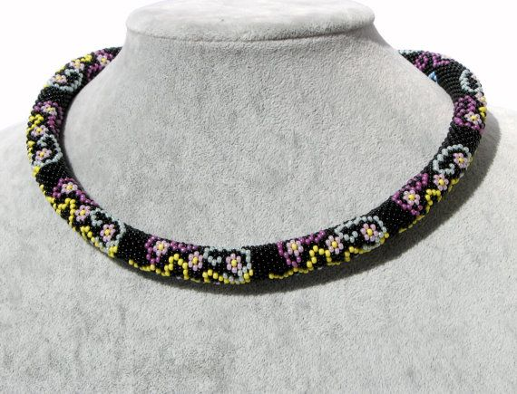 Beaded crochet rope necklace - Black necklace with small flowers pattern - Elegant necklace - Seed beads jewelry - Handmade jewellry  This necklace is crocheted on 100% cotton thread with thousands of small Czech seed beads with Flower pattern .  Very flexible and comfortable to wear.  It is easy, elegant jewelry suitable for everyday use and special occasions. Is handmade especially for you.   ◆MEASUREMENTS Length 18.9 in ( 48 cm ) Weight 0.116 lb ( 53 g )  Each purchase comes carefully…