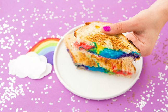Save this easy colorful recipe to make Rainbow Grilled Cheese Sandwiches.