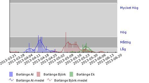 Uppmätta halter av al-, björk- & ekpollen i Borlänge under 2013 Pollen - alder, birch & oak.