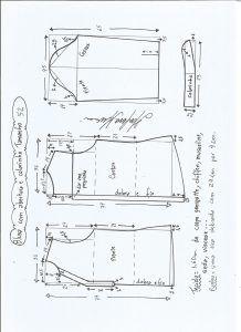 Блуза схема моделирования с открытием и средним воротником размер 52.