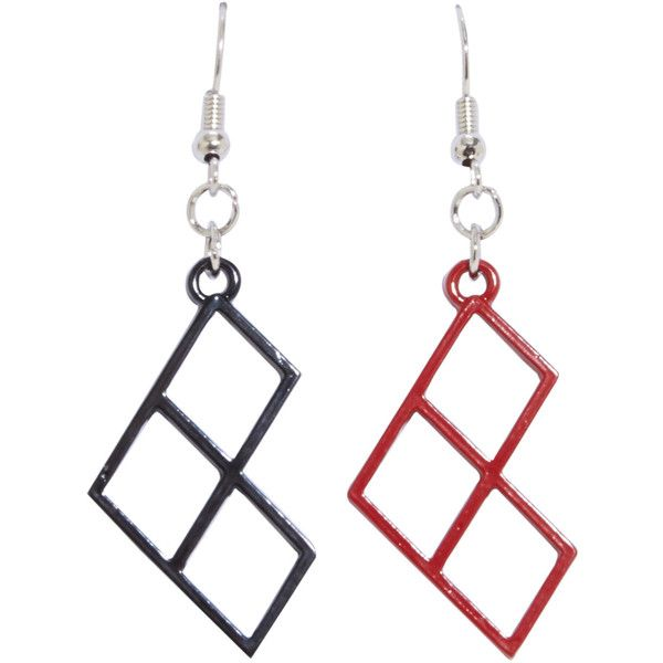 DC Comics Harley Quinn Diamond Earrings ($3.92) ❤ liked on Polyvore featuring jewelry, earrings, earring jewelry, diamond earrings, diamond earring jewelry, diamond jewellery and red and black jewelry