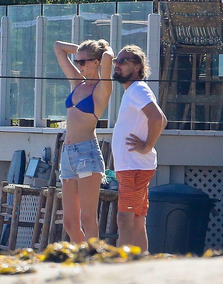 Leonardo DiCaprio's girlfriend, Toni Garrn, wore a blue bikini when they played volleyball in the sand.