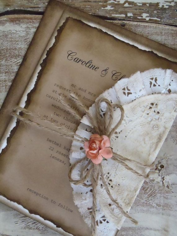 Romantic Rustic Coral Rose Wedding Invitation by WALKinLOVEdesigns, $4.75  HOW CUTE and creative!