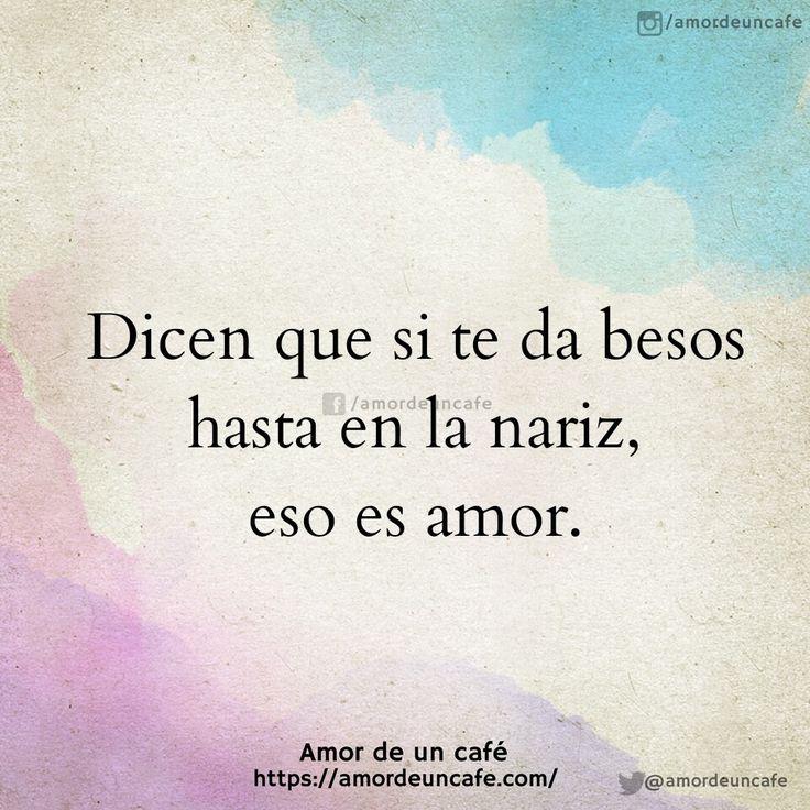 Dicen que si te da besos hasta en la nariz, eso es amor.