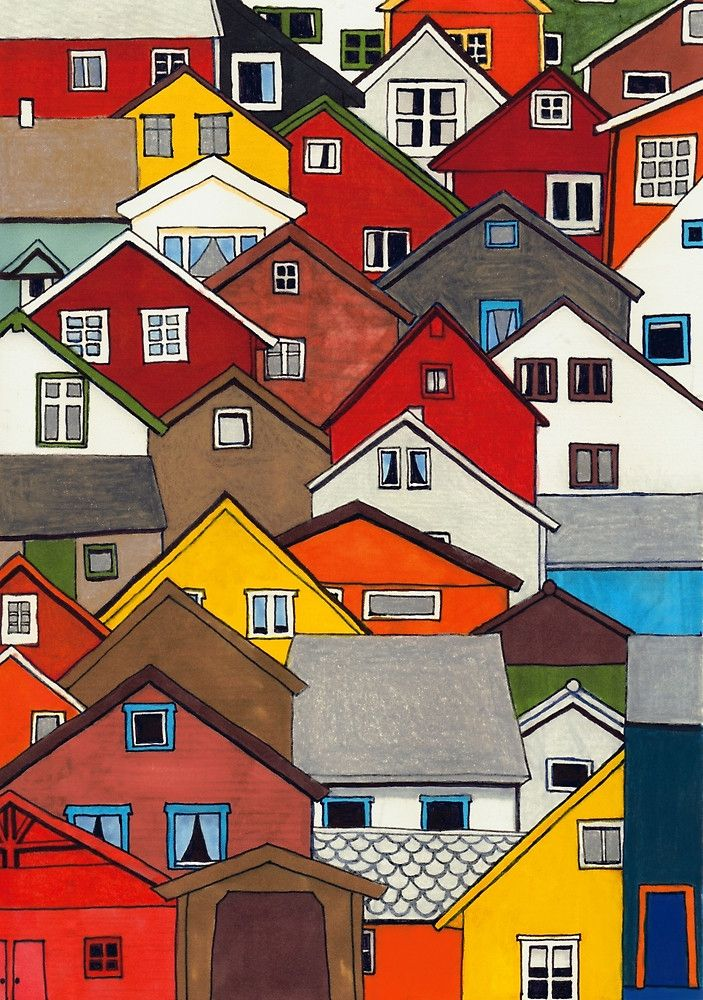 Colourful Houses by Erin Nicholls Marker and coloured pencil drawing 2015.