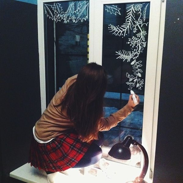 New Year and Christmas window decoration