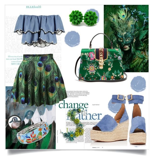 Feather by slytheriner on Polyvore featuring HUISHAN ZHANG, Chloé, Gucci and Belle Etoile
