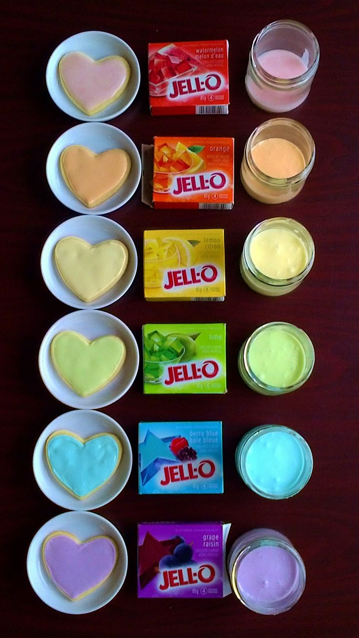 By just stirring some jello into your frosting...it will change the color and flavor. Awesome idea! Valentines day cookies here we come!