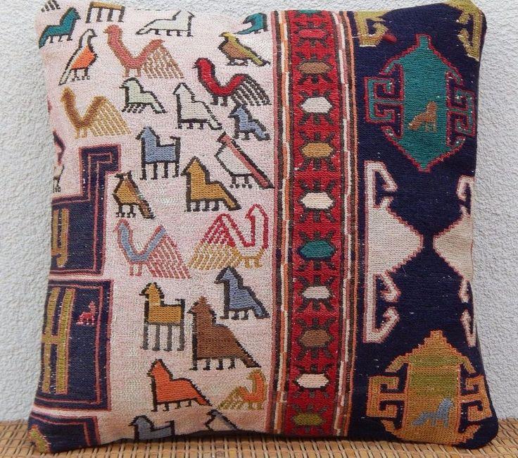 16x16 Animal Pillow Cover,Handmade Silk Kilim Rug Cushion,Silk Throw Pillows  #Handmade