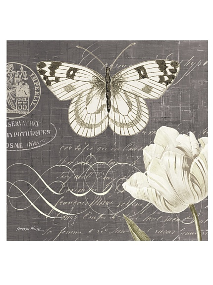 "Kathryn White Butterfly Blossom No. 4 20"" x 20"" Hand Embellished Canvas"