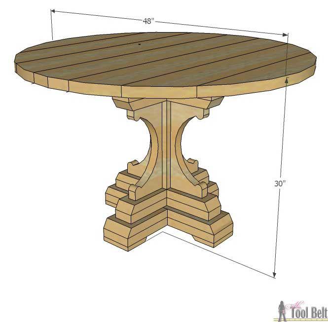 """Бесплатные деревообработки планирует построить коренастый французский стиль дом 48"""" круглый стол постамента. Этот стол сделан из простого бруса (2х8, 2х6, 2х4) от юоме Депот. Любовь мелиорированных деревянная отделка!"""