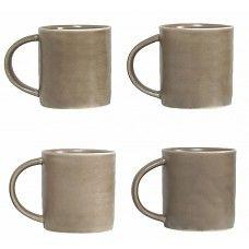 "Mokken set van 4 lichtgrijs keramiek 10cm, ""vintage mug light grey"""