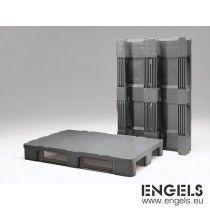 Kunststof hygiënepallet 1200x800x153 mm, 3 sleden, gesloten dek grijs