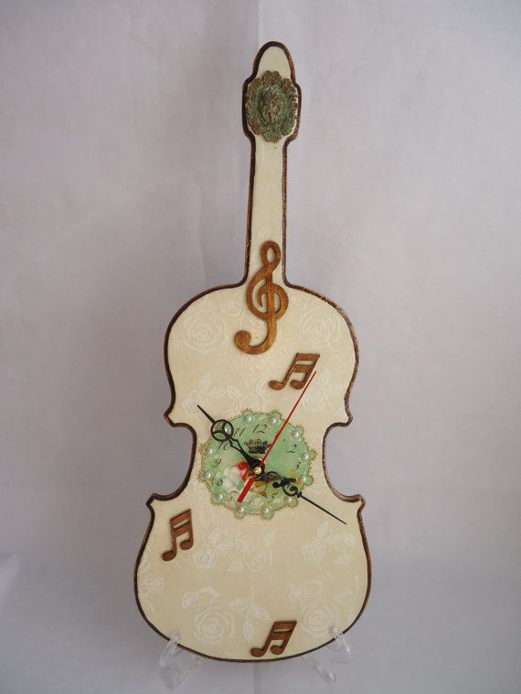 Violin clock MDF decoupage white roses birds beads by VesDecoupage, $46.00