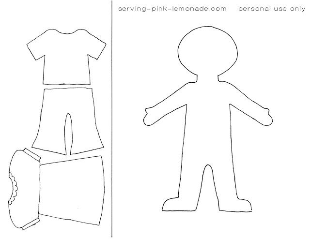 Quiet book templates dress up doll at bottom of page for Felt dress up doll template