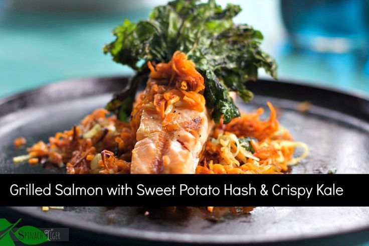 My Best Grilled Salmon Recipe with Shoe String Sweet Potatoes, Crispy Kale