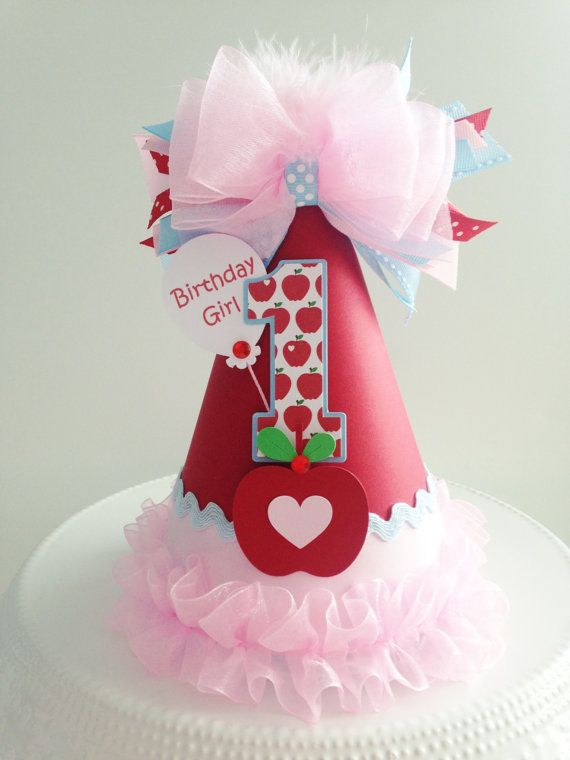 Lil' Apple Birthday Party Hat - Apple of My Eye - Red, Light Pink and Light Blue- Personalized on Etsy, $25.00
