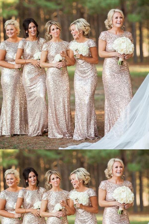Simply made sequin bridesmaid dresses, 2017 bridesmaid dresses, mermaid bridesmaid dresses, short sleeves bridesmaid dresses