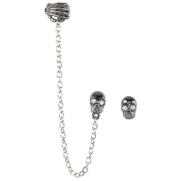 Skull Hand Cuff Earrings Hot Topic (£5.86) ❤ liked on Polyvore featuring jewelry, earrings, stud earrings, skeleton earrings, handcuff jewelry, skull jewellery and chains jewelry