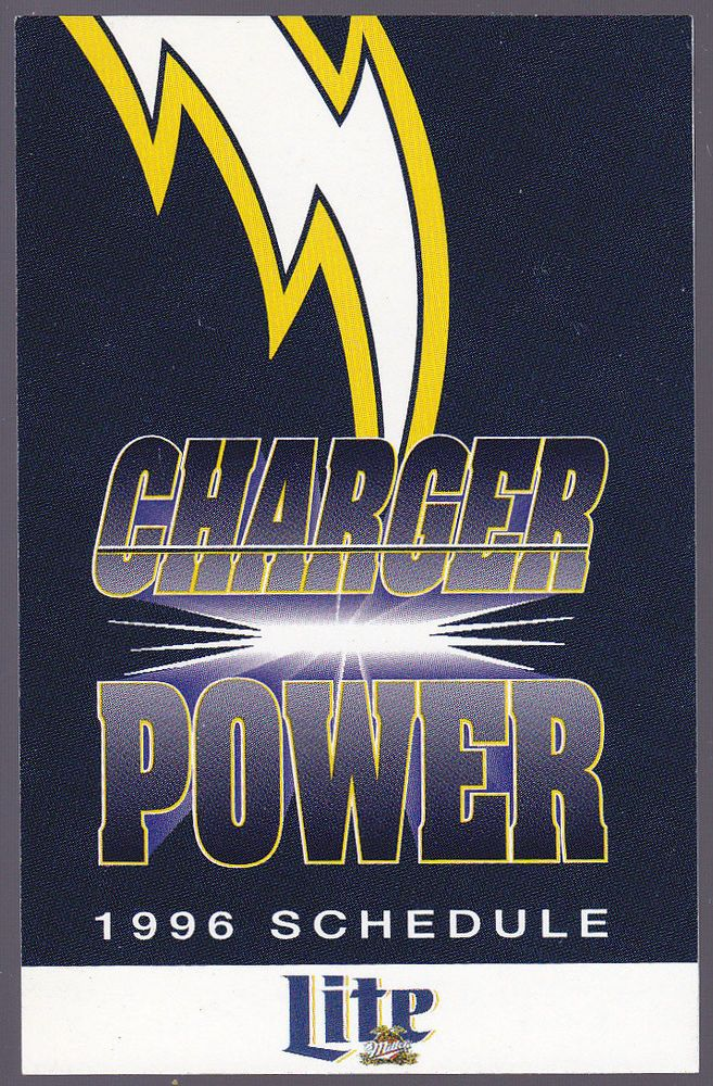 1996 SAN DIEGO CHARGERS MILLER LITE BEER FOOTBALL POCKET SCHEDULE  FREE SHIP #SCHEDULE