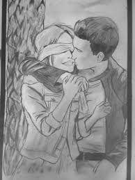 Resultado de imagen de dibujos de parejas enamoradas besandose a lapiz
