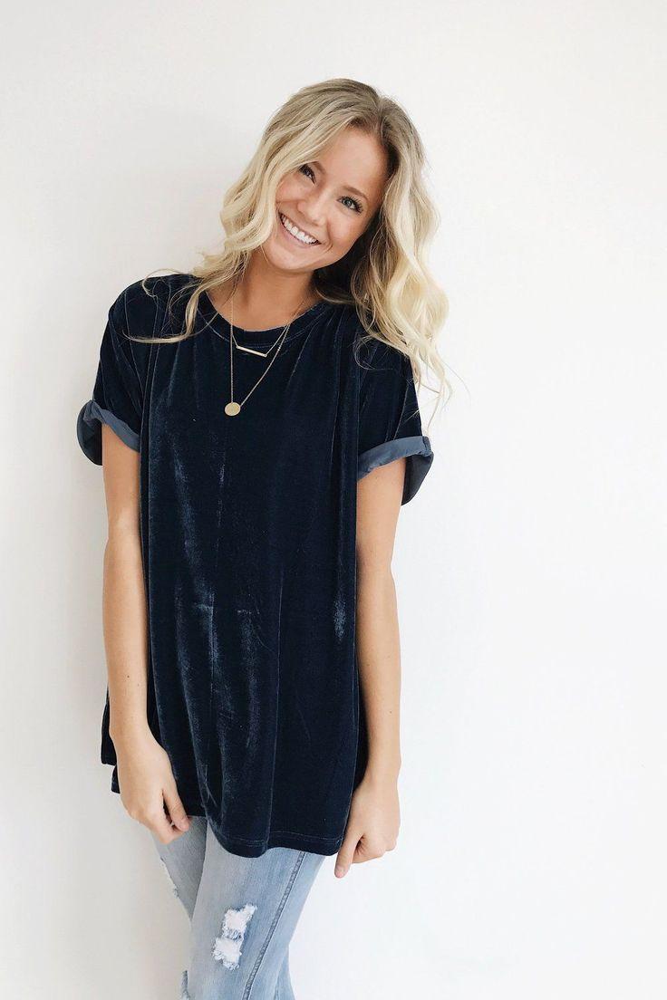 "Midnight Blue Velvet Tee Rolled Short Sleeve Cuff Split Side Seams Loose Fit Model is 5'9"" + Wearing a S/M"