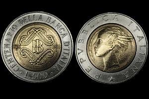 Lira italiana commemorativa Banca d'Italia per un valore di 500 Lire .jpg