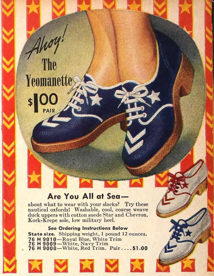 """Yeomanette"" shoes Sears, 1941 Tuppence Ha'penny: 1940 S, 1940S Fashion, Vintage Fashion, Nautical Shoes, 1940S Shoes, Nautical Fashion, Sailors Style, 40S 50S, 1941 Seared"
