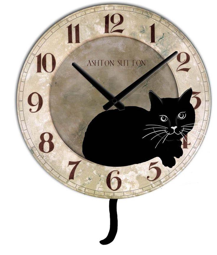 Ashton Sutton Cat Clock with Pendulum