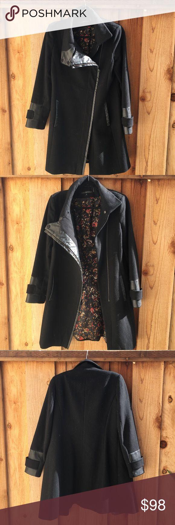 Via Spiga Leather Trim Black Pea Coat Super cute leather trim, black peacoat with rose inner lining- fur neck trim available Via Spiga Jackets & Coats Pea Coats