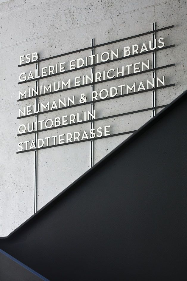 Aufbau Haus  [Signage System, Orientation System]  client Moritzplatz 1 Entwicklungsgesellschaft mbH, Berlin  design Moniteurs GmbH, Berlin
