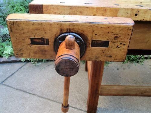 Large-Antique-Hardwood-Carpenters-Craftsman-Workbench-with-Large-Jaw-Vises