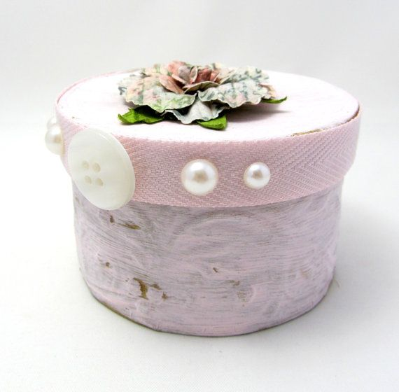 Small Keepsake Box  Soft Pink Keepsake Box  by PrettyByrdDesigns