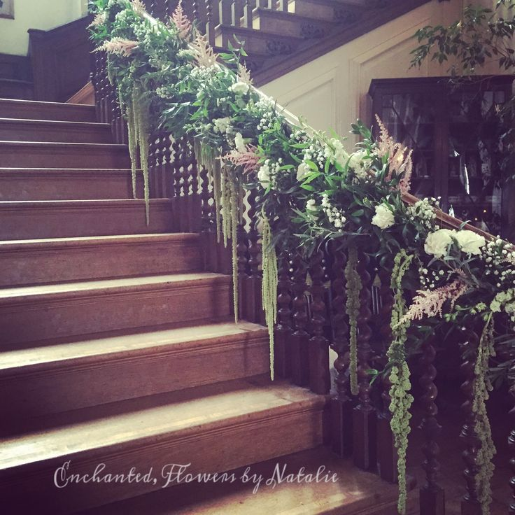 Best 25 wedding staircase decoration ideas on pinterest wedding grand wedding staircase at glemham hall pinks white eucalyptus amaranthus gyp junglespirit Image collections